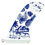 KONA SURF CO. Pivot Single Center Fin for Longboard, Surfboard and Paddleboard in Gloss Fiberglass/Paradise sz:10in