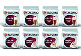 Tassimo Costa Coffee Pods Selection - Costa Latte/Caramel Latte/Americano/Cappuccino - 8 Packs (80 Servings)