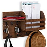 Wallniture Horta Wall Mail Organizer Key Holder for Wall, Farmhouse Decor Coat Rack Entryway Organizer with Hooks Wood Walnut