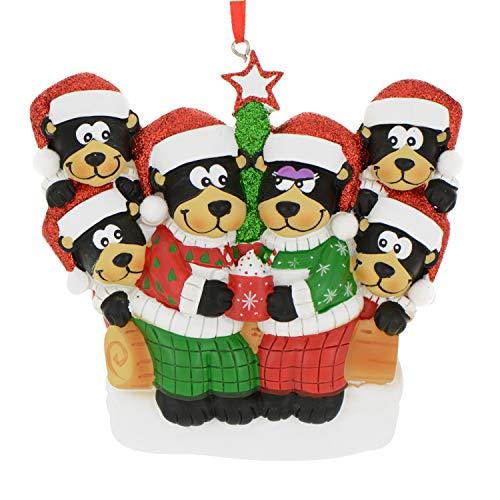Oso negro personalizado con familia de chocolate caliente de 3 adornos de Navidad – lindo sombrero con purpurina para pareja de padres y niños en feo gorro – Invierno día...