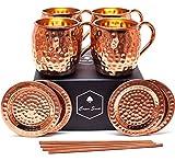 Cooper Smith Moscow Mule Kupferbecher aus 100% Kupfer - Handgefertigtes 4er Set bestehend aus Kupferbecher, Kupfer Untersetzer und Kupfer Strohhalme