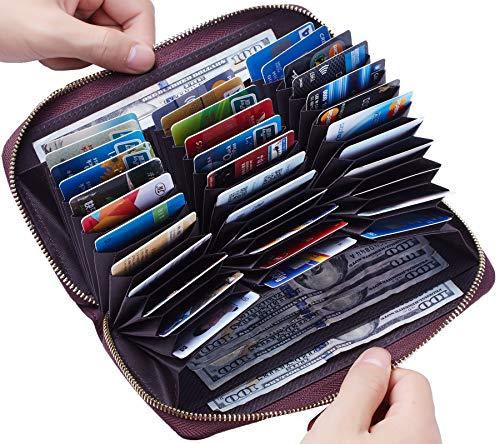 Travelambo Damen kapazität krotitkarte-mappen-leder-rfid-wallet einheitsgröße zugang rotwein
