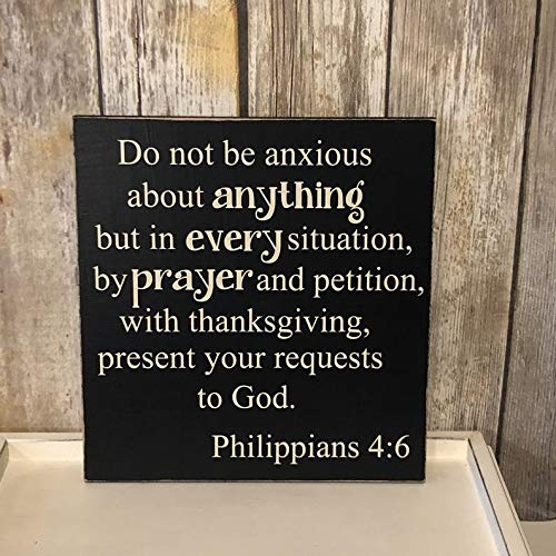 Dkisee tekst Sign, Do Not be Anxious Wood Sign, Rustic Wood Sign, Plank, 4 x 4 inch