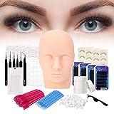 SZCY LLC Pro 20pcs False Eyelashes Extension Practice Exercise Set, Professional Head Model Lip Makeup Eyelash Grafting Training Tool Kit for Makeup Practice Eye Lashes Graft