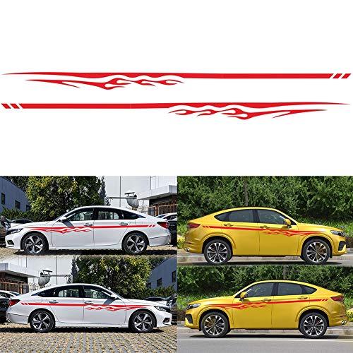 Dogggy 2 Stücke Auto Flamme Streifen Aufkleber Ganze Körper Aufkleber Dekor Abdeckungen Schutz Auto Aufkleber Auto-Styling