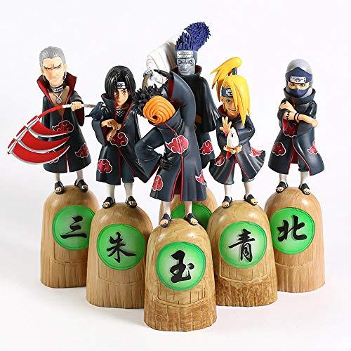MNZBZ 6 unids/Set Naruto Akatsuki Uchiha Obito Itachi Deidara Hoshigaki Kisame Hidan Kakuzu PVC Figura Coleccionable Modelo de Juguete