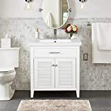 LUCA Kitchen & Bath LC30SWP Juliet 30 in. W x 16.5 in. D Single Sink Farmhouse Bathroom Vanity Set in Pure White Integrated Porcelain Top