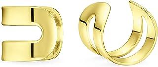 Unisex Minimalist Geometric Split Band Cartilage Ear Cuff Earrings Helix Non Pierced 14K Gold Plated 925 Sterling Silver