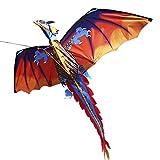 Lixada 3D Cerf-Volant Géant, Parafoil sans Cadre Géant Volant Cerf-Volant (Rouge)