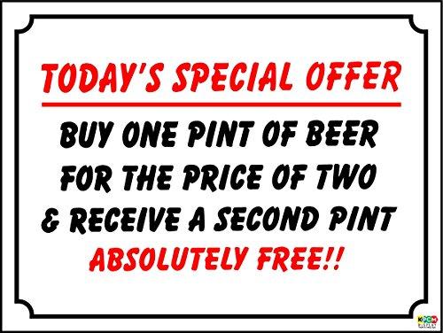 Witziges Schild Sonderangebot Bier, Wein Bar, pub, Social Club Kunststoff/Aufkleber–Sticker Selbstklebend 200mm x 150mm