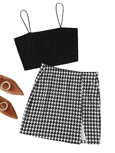 Floerns Women's Cami Crop Top and Plaid Skirt Set 2 Piece Outfit Black M