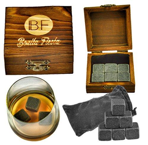Deluxe Whiskey-Steine – Professionelles Qualitätsset mit 6 Steinen in einer schönen, handgefertigten Box und geschmeidigem Samtbeutel.