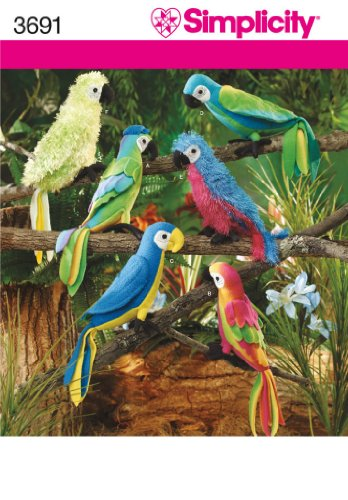 Simplicity 3691 Stuffed Animals Tropical Birds Parrots & Macaws Sewing Pattern