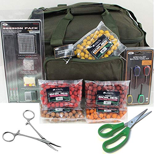 NGT Green Carryall Carp Fishing Tackle Bag Hook Hair Rig Bait Tools Boilies Set + Green Scissors + Forceps