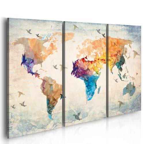 B&D XXL murando Impression sur Toile intissee 120x80 cm 3 Pieces Tableau Tableaux Decoration Murale Photo Image Artistique Photographie Graphique Carte du Monde 020113-232