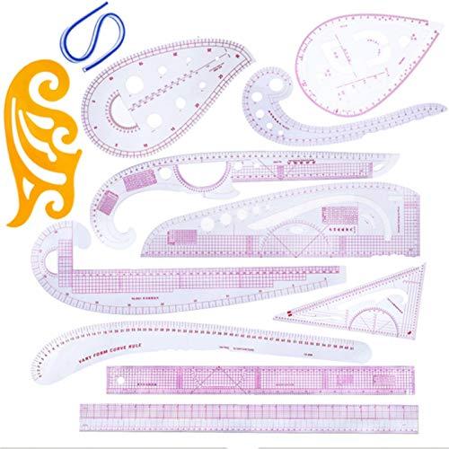 RWEAONT 12 unids/Set Kit de la Regla a Medida Claro Patchwork Dibujo Regla de la Regla Tela de Corte de Corte Medida de Costura Plantilla Regla métrica (Color : CZ 20)