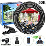 POCKET PANDA Misters for Outside Patio/Fan with Filter DIY 50FT, Outdoor Misting System Cooling kit with15 Brass Mist Nozzle for Pool,Umbrella,Trampoline,Deck,Canopy,Porch. Backyard Mist Spray Hose