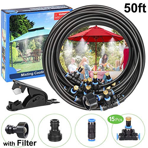 POCKET PANDA Misters for Outside Patio/Fan with Filter DIY 50FT, Outdoor Misting System Cooling kit with 15 Brass Mist Nozzle for Pool,Umbrella,Trampoline,Deck,Canopy,Porch. Backyard Mist Spray Hose