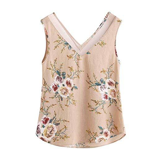 Lazzboy Vest Top Women Chiffon Sleeveless Floral Print Mesh Collar V-Neck T-Shirt Ladies Slouch Blouse(XL(14),Beige-Vest)
