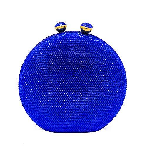 LLUFFY-Clutch Handtasche Runde Einfarbig Abendtasche/Heiße Bohrung Tasche/Magnetische Schnalle Diamant Kupplung/Flachmann Stil Handtasche, 17X4.5X16Cm, Blau