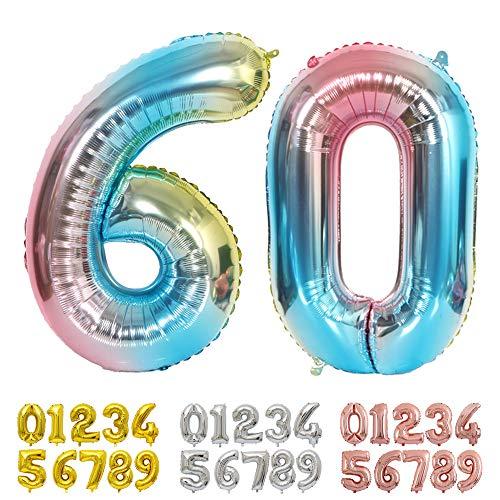 Ponmoo Foil Palloncini Numeri 60 Blu, Gigante Numero 0 1 2 3 4 5 6 7 8 9 10-19 20-29 30 40 50 60 70 80 90 100, Gonfiabili Pallone per Anniversario, Decorazione Feste di Compleanno Palloncino