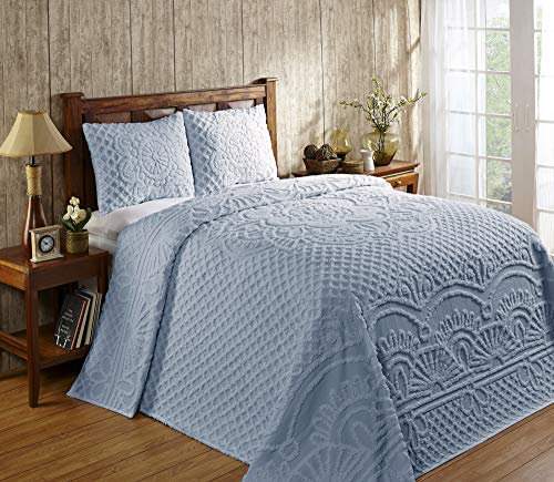 Better Trends Trevor Collection is Super Soft and Light Weight in Medallion Design 100% Cotton Tufted Unique Luxurious Machine Washable Tumble Dry, Queen Bedspread Set, Blue