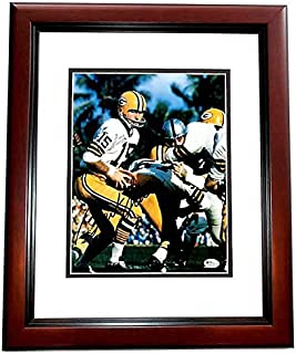 Bart Starr Signed - Autographed Green Bay Packers 8x10 inch Photo MAHOGANY CUSTOM FRAME - 2x Super Bowl Champion