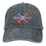 KLING Gorra de béisbol para Hombres y Mujeres, Drone Pilot USA Flag21 Unisex Algodón Ajustable Jeans Cap Hat