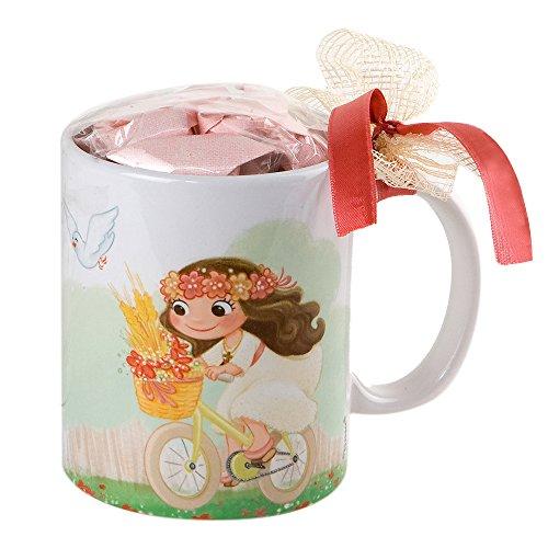 Mopec Niña Comunión Taza en Bici con Caramelos, Porcelana, Blanco y Rosa, 8,2 x 8,2 x 9,5 cm