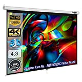 Inlight Wall Autolock Pull Down Projector Screen 7 Ft. x 5 Ft. – 100 inch Diagonal, 4:3 Format Supports UHD-3D-4K Technology(White)
