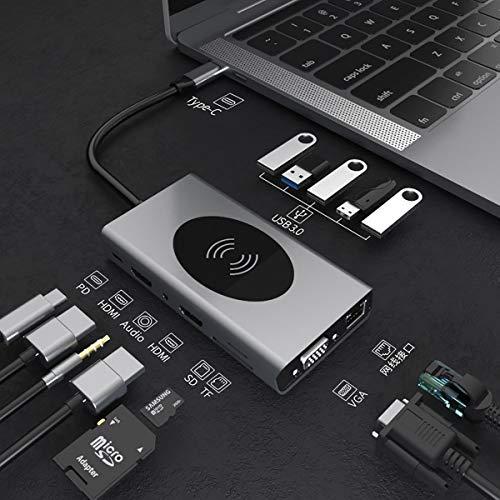 C-Y Adaptador de multipuerta del concentrador USB 5 USB 3.0 HUB 14 en 1 Aluminio USB HDMI Adaptador 4K Hub de Datos Ultra Slim USB 3.0 con Carga inalámbrica