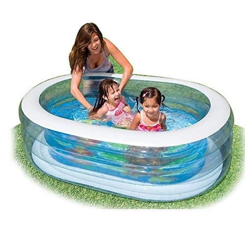 Familia transparente oval piscina, los niños piscina inflable, cubierta grande Océano Ball Pool, for el jardín Piscina al aire libre Juegos, capacidad de almacenamiento de agua 238L, 64x42x18 pulgadas