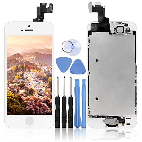 LL TRADER Pantalla Completa para iPhone 5S/SE Blanco, Reemplazo de Táctil Retina LCD Display Digitalizador con Botón de Inicio, Cámara Frontal, Sensor de Proximida, Altavoz de Auricular y Herramientas