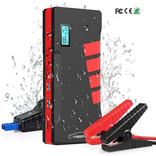 YABER Avviatore di Emergenza per Auto, 1000A 20800mAh Avviatore Batteria Auto(Fino a 7,5L a Benzina o Diesel da 5.5L) 12V Jump Starter Booster con Display LCD, Cavo per Avviamento Intelligente