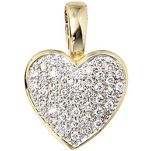 JOBO Damen-Anhänger Herz aus 585 Gold mit 42 Diamanten