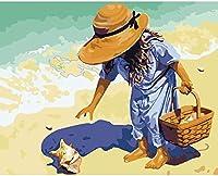 数字でペイントキット子供、学生、大人向けDiyキャンバス油絵初心者-ブラシとアクリル絵の具で16 x 20インチ(フレームレス、)児童学校#09305