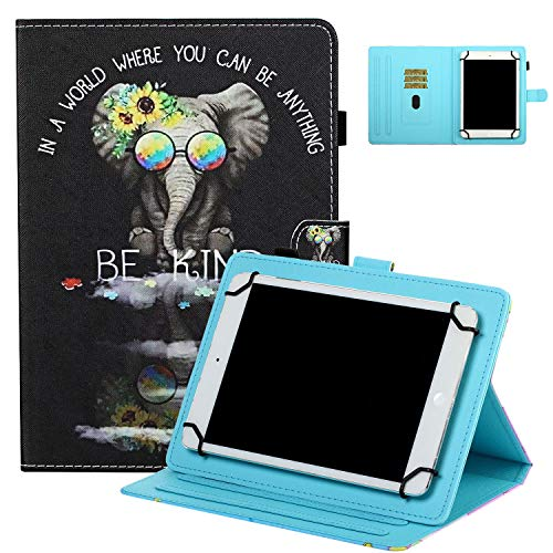 Universal Case for 7' Tablet, UGOcase Stand Folio Protective Case Cover for Galaxy Tab 3 Lite 7.0/Tab 4 7.0/ Tab E Lite 7.0/ Mediapad T3 7.0' and More 6.5'-7.5' Tablets - Kind Elephant