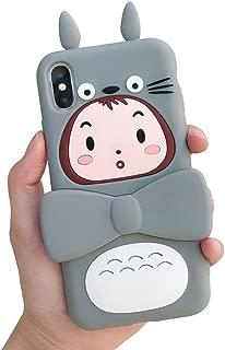BONTOUJOUR Case for iPhone X/iPhone XS, Super Cute Piggy Pattern Serie 3D Pig Eyes Design Hard PC Cover Case Screen Protector Case for iPhone X/iPhone XS -Totoro