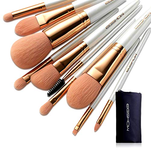 Makeup Brushes Sets, EIGSHOW Vegan Makeup Brushes Cruelty-Free Soft Synthetic Bristles for Foundation Blending Face Powder Lip Blush Contour Eyeshadow(Vegan 10pcs RoseGold)