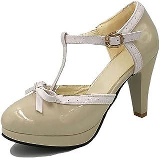 Womens Lolita Bowtie Platform Stiletto Heels Ladies Sweet T-Strap Dress Pumps Shoes