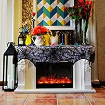 Vlovelife 18 x 96 Inch Halloween Fireplace Mantel Spider Cobweb Scarf Mysterious Lace Runner for Halloween Party Festival Scary Movie Nights