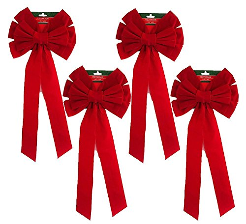 Black Duck Brand Set of 4 Christmas Red Velvet Bows 26' x10' 10-Loop Holiday/Christmas Bows!