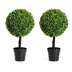 Goplus 24″ Artificial Ball Shaped Tree, Boxwood Tabletop Plant, PVC Materials Artificial Plants for House, Office, Garden, Patio, Indoor Outdoor Decoration Plant