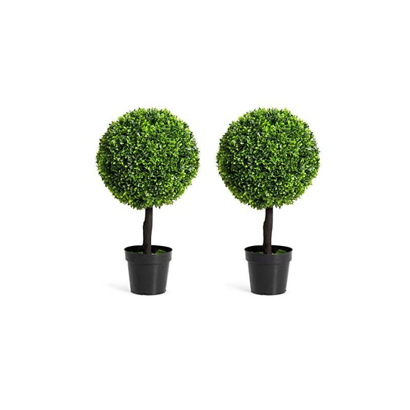 """silk flower arrangements goplus 22"""" artificial ball shaped tree, boxwood tabletop plant, pvc materials artificial plants for house, office, garden, patio, indoor outdoor decoration plant"""