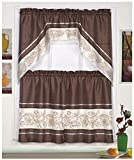3pc Beige/Coffee with Embroidered Gold Floral Kitchen/cafe Curtain Tier and Swag Set