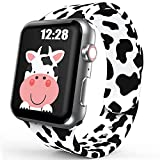 Sport Band Compatible with Apple Watch Bands 38mm 40mm Women Girls, Cute Cow Printed Watch Bands for iWatch Series 6 5 4 3 2 SE Silicone Apple Watch Band Luxury Design