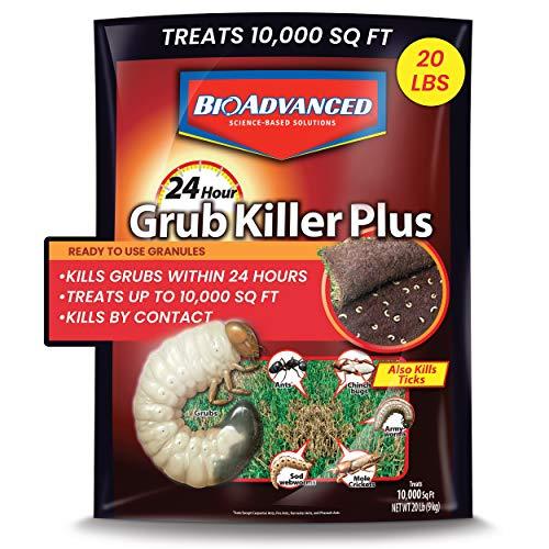 BioAdvanced, Granules, 700745S 24 Hour Grub Killer Plus, 20-Pound, 10,000 sqft Standard Bag