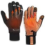 Cycling Gloves, Thermal Fleece Winter Gloves, Anti-slip Shockproof Road Mountain Bike Gloves Padded, Touch-screen Driving Gloves Workout Gloves, Waterproof Bike Gloves for Men Women (Black, L-1)