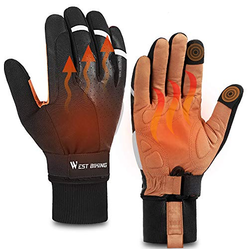 ICOCOPRO Cycling Gloves, Thermal Fleece Winter Gloves, Anti-Slip Shockproof Road Mountain Bike Gloves Padded, Touch-Screen Driving Gloves Workout Gloves, Waterproof Bike Gloves for Men Women