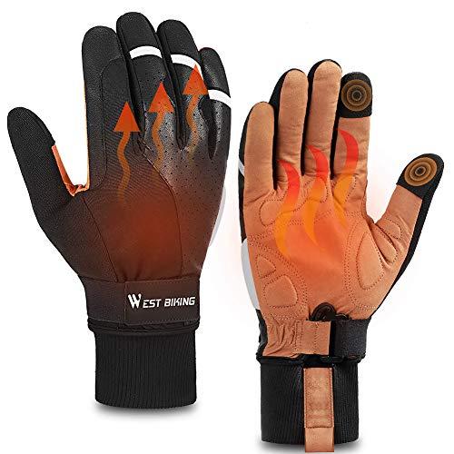 ICOCOPRO Fahrradhandschuhe, Thermo Fleece Winter Handschuhe, rutschfeste Stoßfeste Mountainbike Fahrradhandschuhe, Touchscreen Fahrradhandschuhe Trainingshandschuhe wasserdichte für Männer, Frauen
